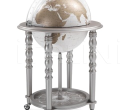 """Elegance"" bar globe on casters - Metallic Grey/White"