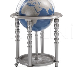 """Elegance"" bar globe on casters - Metallic Grey/Blue"