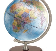 """James Cook"" educational desk globe - Light Blue Political"