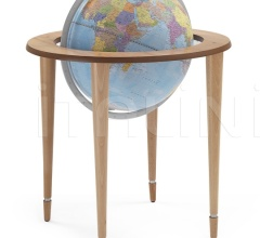 """Amerigo Vespucci"" contemporary style floorstanding globe - Natural/Light Blue Political"