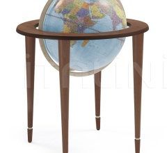 """Amerigo Vespucci"" contemporary style floorstanding globe - Antique Brown/Light Blue Political"