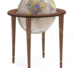 """Amerigo Vespucci"" contemporary style floorstanding globe - Antique Brown/Pink Political"