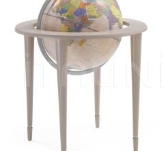 """Amerigo Vespucci"" contemporary style floorstanding globe - Mat Grey/Pink Political"