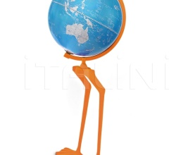 """Papero"" floorstanding cartoon globe on aluminum base flocked with velvet"