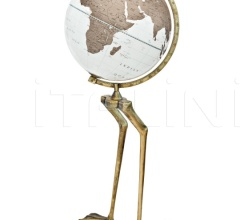 """Papero"" floorstanding cartoon globe on aluminum base in antiqued gold foil finish"