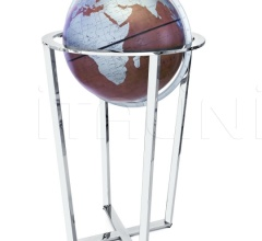 """Basket"" floorstanding globe with chrome base and bonded leather sphere - Brown/Turquoise"