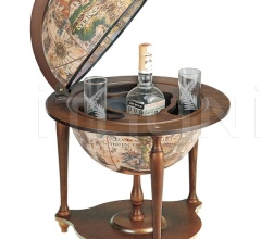 """Nano"" desk bar globe with wooden base - Ivory"
