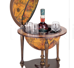 """Nano"" desk bar globe with wooden base - Ebony"