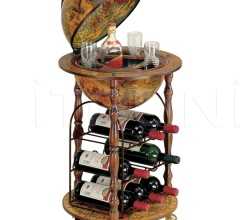"""Ottante-Cellar"" small floor bar globe with metal wine rack"