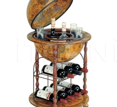 """Pegaso-Cellar"" small floor bar globe with metal wine rack"