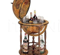 """Regolo"" bar globe with wooden meridian and bottle carrier"