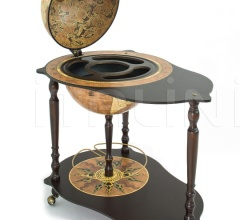 """Michelangelo"" trolley table with globe drinks cabinet - Rust"