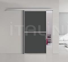 Porta plana parete free 2 luxor vetro nero