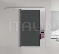 Porta plana parete free 2 medium vetro nero