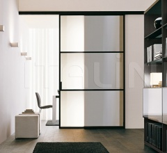 Porta plana parete free 3 medium vetro bronzo
