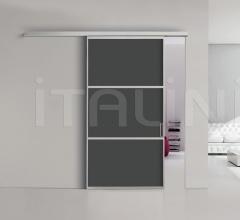 Porta plana parete free 3 medium vetro nero