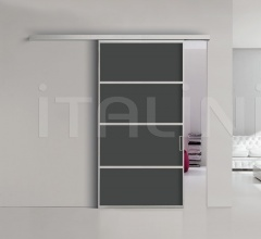 Porta plana parete free 4 luxor vetro nero