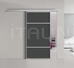 Porta plana parete free 6 medium  vetro nero