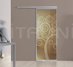 Porta plana parete free luxor vetro bronzo decoro