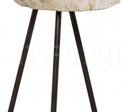 Natura Side Table, Metal and Petrified Wood AI-57F