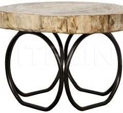 4 Circle Table, Metal and Petrified Fossil AI-59F