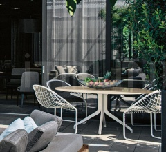 Итальянские уличные столы - Стол обеденный Claydon Outdoor фабрика Minotti