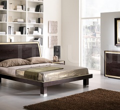 KUBE  line _ FUSION bed, coffee-colored ash, ivory leather