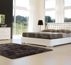 Opera line _ Elite bed white lacquer/steel with storage