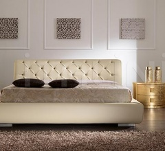 LUNA line, gold leaf, mosaic hendle _ VISION bed, quilted leather with storage, butter-colour leather