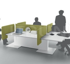 Anyware table with 6 workstations made with Turnable and Movable screen.