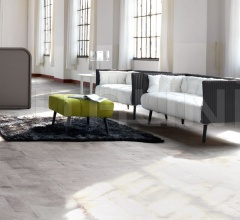 Inattesa sofa with Antracite back and Bianco seat with Verde Pistacchio pouf.