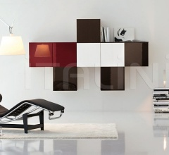 Cubical hanging elements in different colours.