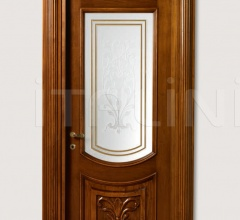 LUIGI XVI 4014/QQ/INT/INF/V Antique-effect Siberian walnut finish with carved lower front panel and AV-23 glass Classic Wood Interior Doors