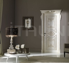 PALAZZO ESTENSE 5018/QQ/INT casing with cyma Estense glazed with silver Classic Wood Interior Doors