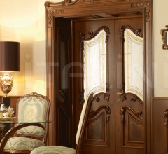 """PALAZZO REALE 2/A 1032/QQ/INT/V frame with wainscoting casing with cyma Palazzo Reale italian walnut topcoat """"antiquariato"""" Classic Wood Interior Doors"""