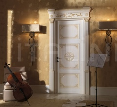 LOUVRE 8015/QQ/INT casing with cyma Louvre glazed white-ocher with old-looking effect Classic Wood Interior Doors