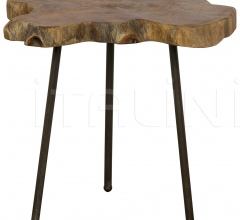 Slab Slice Table with Cast Iron Base and Teak Top AI-53