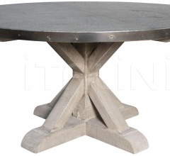 QS Zinc Round Table with X Base, Vintage GTAB428