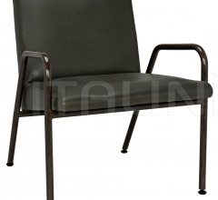 Oplus Lounge Chair, Rustic Finish, Green Leather AF-22R