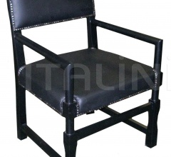Leather Square Arm Chair, Black GCHA106A