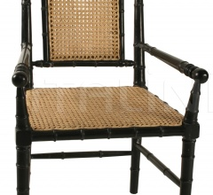 Colonial Bamboo Arm Chair, Hand Rubbed Black GCHA126AHB
