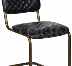 0037 Dining Chair, Metal and Leather LEA-C0037B